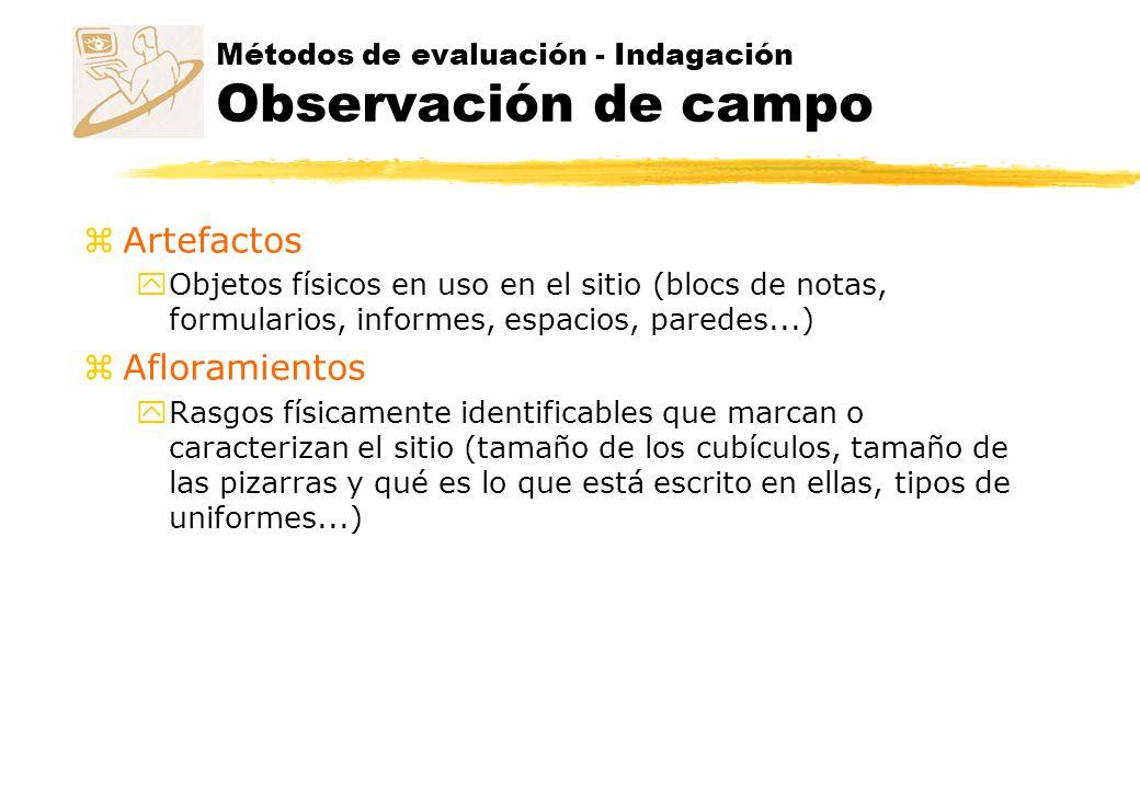 Métodos de evaluación - Indagación Observación de campo z Artefactos y Objetos físicos en uso en el sitio (blocs de notas, formularios, informes, espa