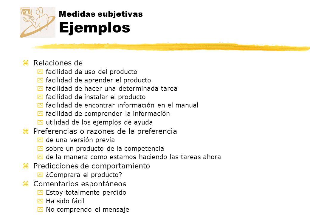 Medidas subjetivas Ejemplos zRelaciones de yfacilidad de uso del producto yfacilidad de aprender el producto yfacilidad de hacer una determinada tarea