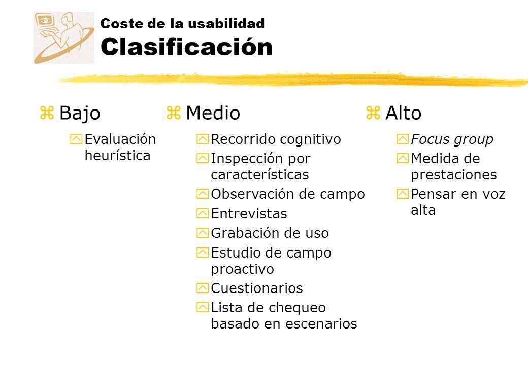 Coste de la usabilidad Clasificación zBajo yEvaluación heurística zMedio yRecorrido cognitivo yInspección por características yObservación de campo yE