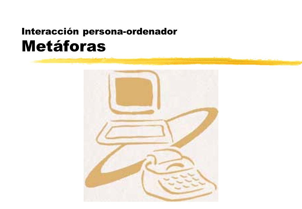 Metáforas visuales Orígenes zXerox, primera metáfora visual yXerox Star, interfaz visual basada en la oficina física yLa base consistió en crear objetos electrónicos simulando los objetos físicos de una oficina: papel, carpetas, bandejas, archivadores yLa metáfora de organización global que se presentaba en la pantalla fue la del escritorio y se parecía al área de trabajo de una típica mesa de oficina yLos ficheros se transformaron en representaciones pictóricas