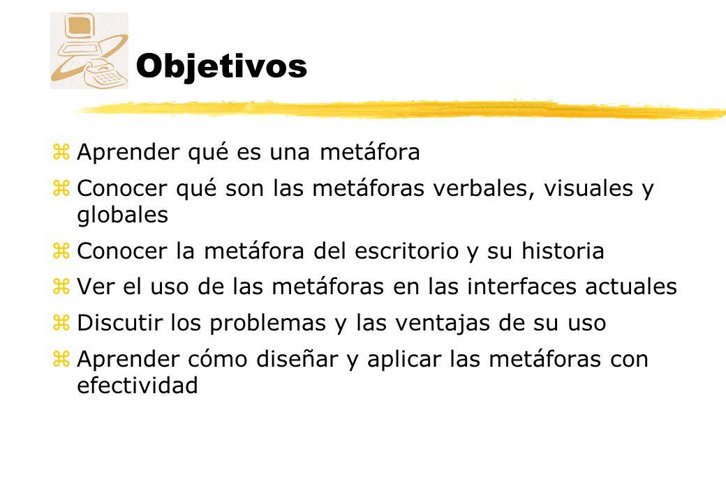 Contenido zMetáforas zMetáforas verbales zMetáforas visuales zMetáfora del escritorio zMetodología de creación de metáforas zDiseño de metáforas zEjemplos de metáforas