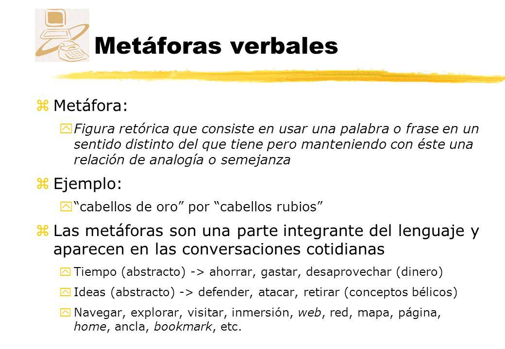 Metáforas verbales Ejemplo zCuando nos encontramos con una nueva herramienta tecnológica tendemos a compararla con alguna cosa conocida