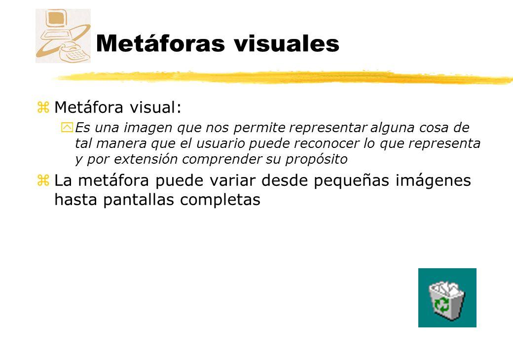 Metodología de creación Ejemplo de errores zAsociaciones inadecuadas Se utiliza la metáfora del reproductor de vídeo para controlar una impresora ¿¿¿???