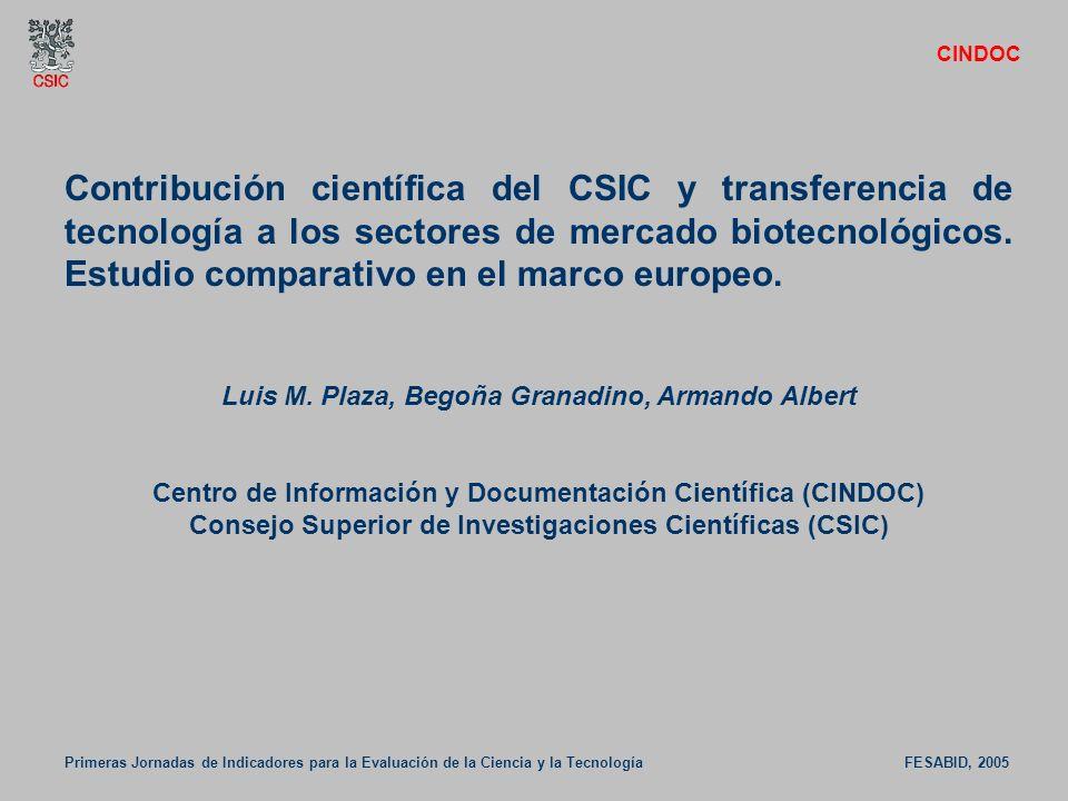 Contribución científica del CSIC y transferencia de tecnología a los sectores de mercado biotecnológicos. Estudio comparativo en el marco europeo. Lui