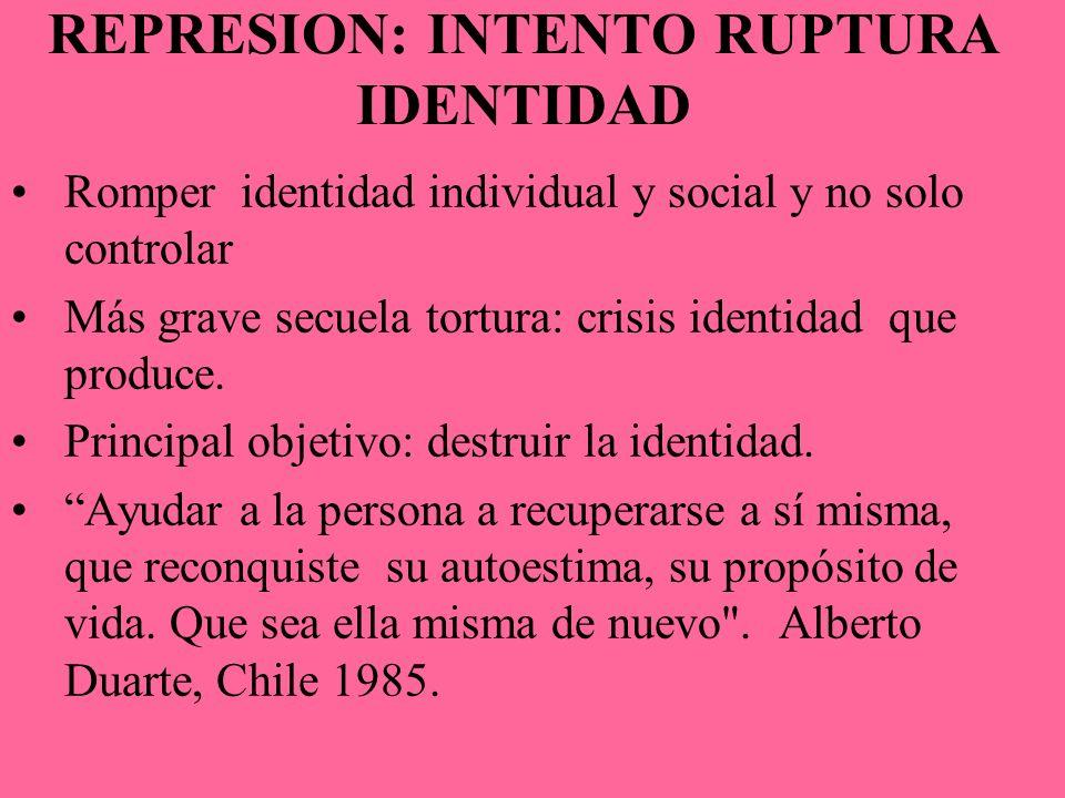 REPRESION: INTENTO RUPTURA IDENTIDAD Romper identidad individual y social y no solo controlar Más grave secuela tortura: crisis identidad que produce.