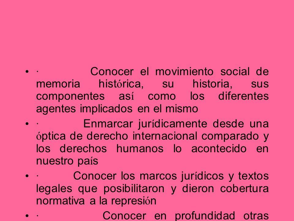 · Conocer el movimiento social de memoria hist ó rica, su historia, sus componentes as í como los diferentes agentes implicados en el mismo · Enmarcar