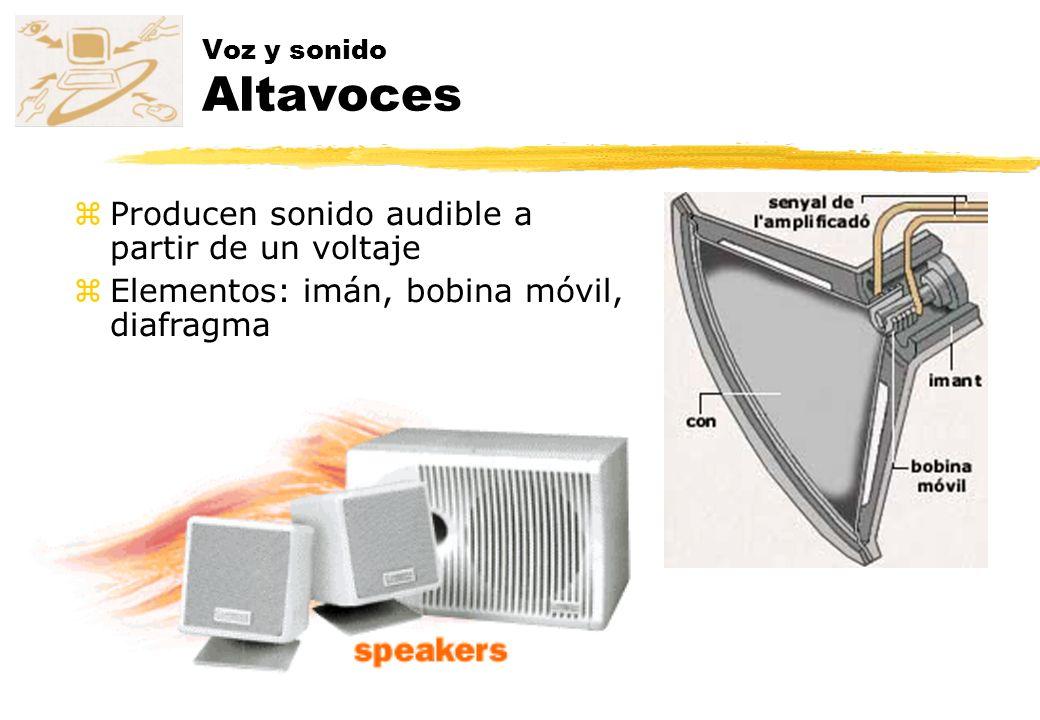 Voz y sonido Altavoces zProducen sonido audible a partir de un voltaje zElementos: imán, bobina móvil, diafragma
