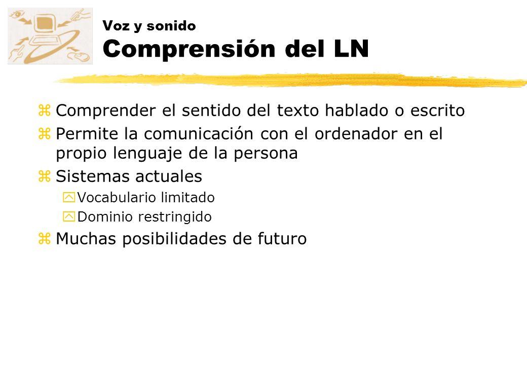 Voz y sonido Comprensión del LN zComprender el sentido del texto hablado o escrito zPermite la comunicación con el ordenador en el propio lenguaje de