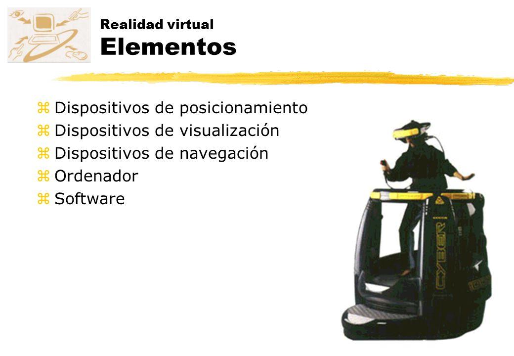 Realidad virtual Elementos zDispositivos de posicionamiento zDispositivos de visualización zDispositivos de navegación zOrdenador zSoftware