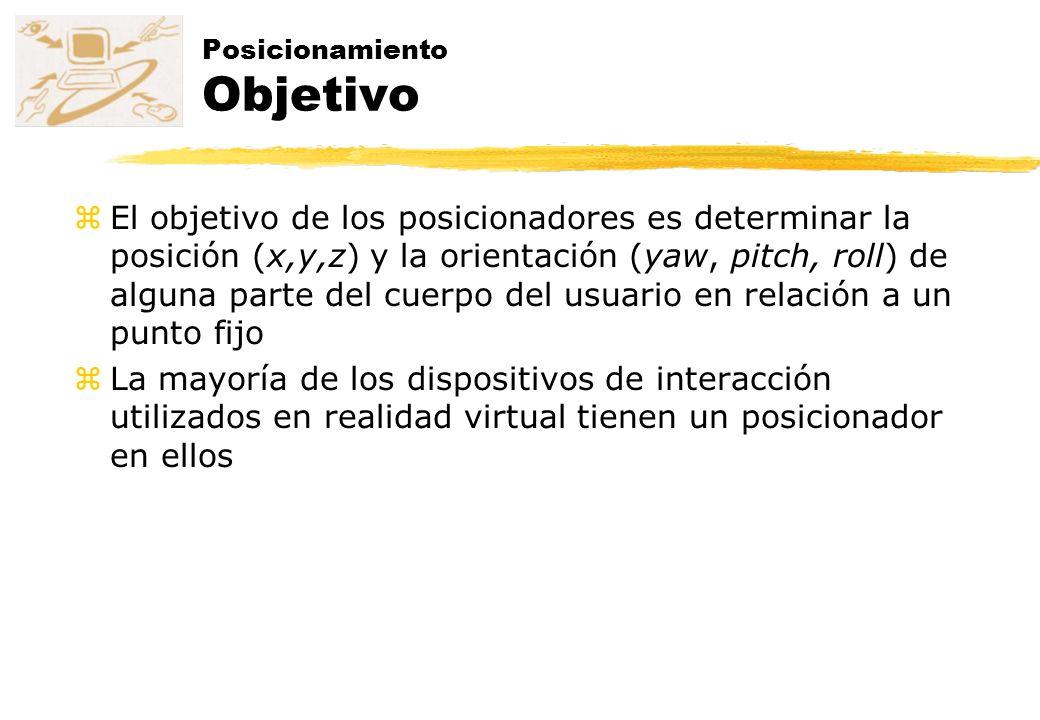 zEl objetivo de los posicionadores es determinar la posición (x,y,z) y la orientación (yaw, pitch, roll) de alguna parte del cuerpo del usuario en rel