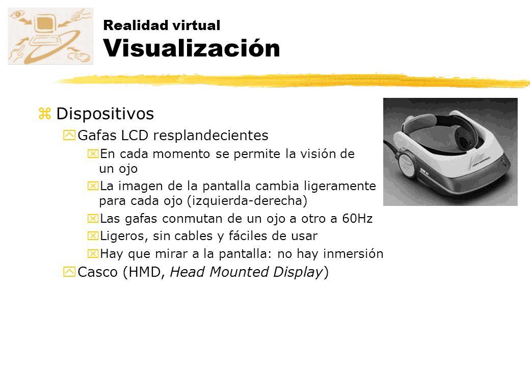 Realidad virtual Visualización zDispositivos yGafas LCD resplandecientes xEn cada momento se permite la visión de un ojo xLa imagen de la pantalla cam
