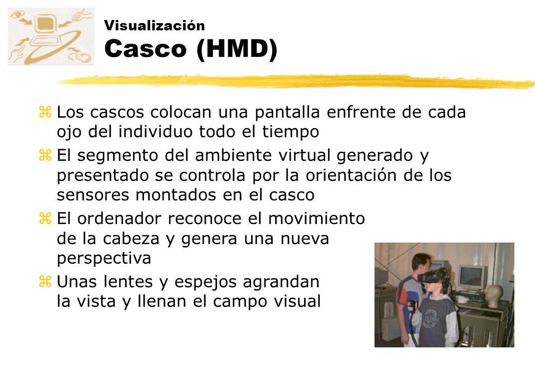 Visualización Casco (HMD) zLos cascos colocan una pantalla enfrente de cada ojo del individuo todo el tiempo zEl segmento del ambiente virtual generad