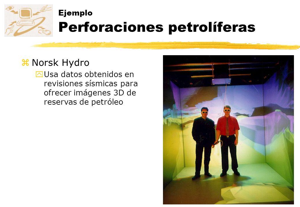 Ejemplo Perforaciones petrolíferas zNorsk Hydro yUsa datos obtenidos en revisiones sísmicas para ofrecer imágenes 3D de reservas de petróleo