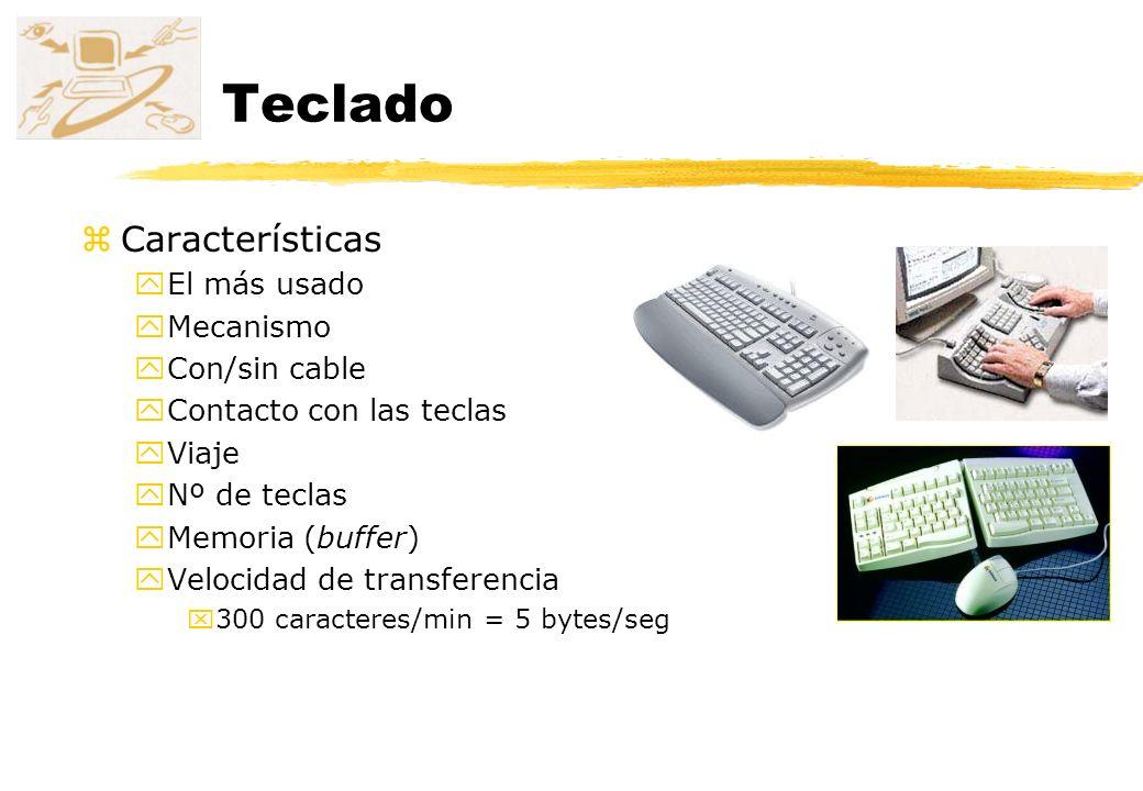 Teclado zCaracterísticas yEl más usado yMecanismo yCon/sin cable yContacto con las teclas yViaje yNº de teclas yMemoria (buffer) yVelocidad de transfe