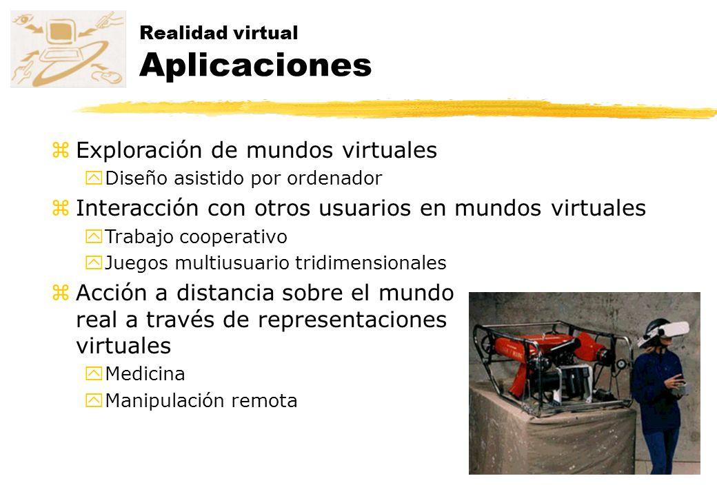 Realidad virtual Aplicaciones zExploración de mundos virtuales yDiseño asistido por ordenador zInteracción con otros usuarios en mundos virtuales yTra
