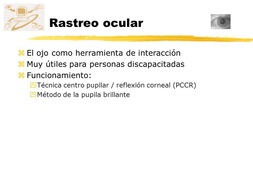 Rastreo ocular zEl ojo como herramienta de interacción zMuy útiles para personas discapacitadas zFuncionamiento: yTécnica centro pupilar / reflexión c