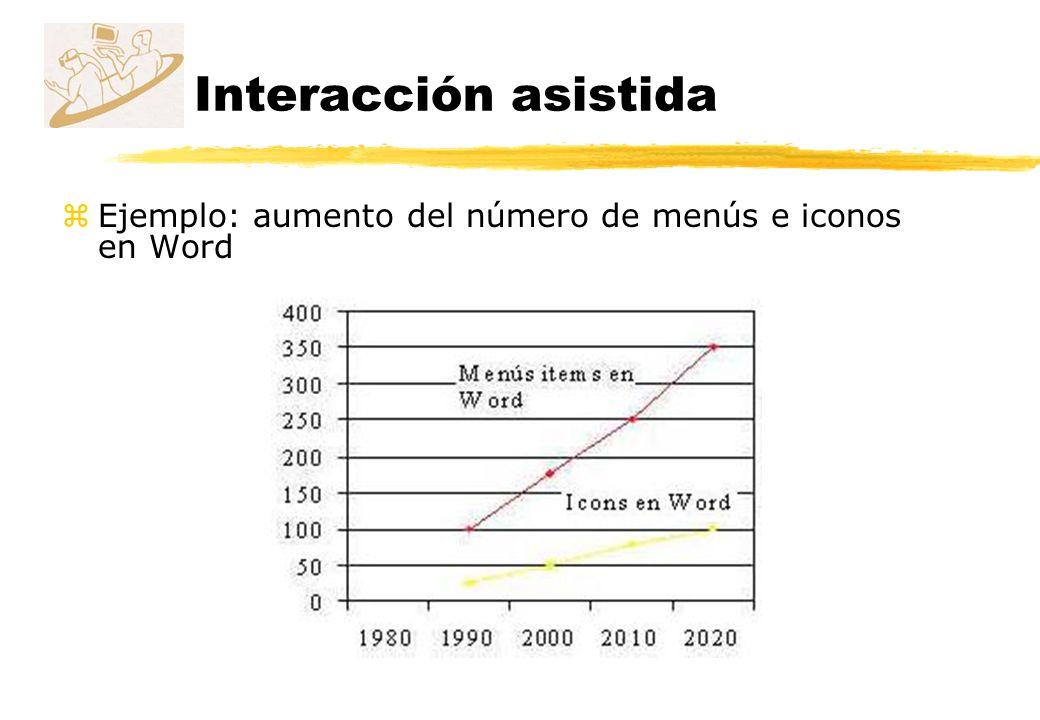 Interacción asistida zEjemplo: aumento del número de menús e iconos en Word