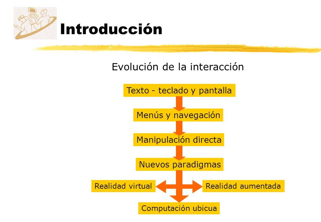 Introducción Evolución de la interacción Menús y navegación Texto - teclado y pantalla Manipulación directa Nuevos paradigmas Realidad virtualRealidad
