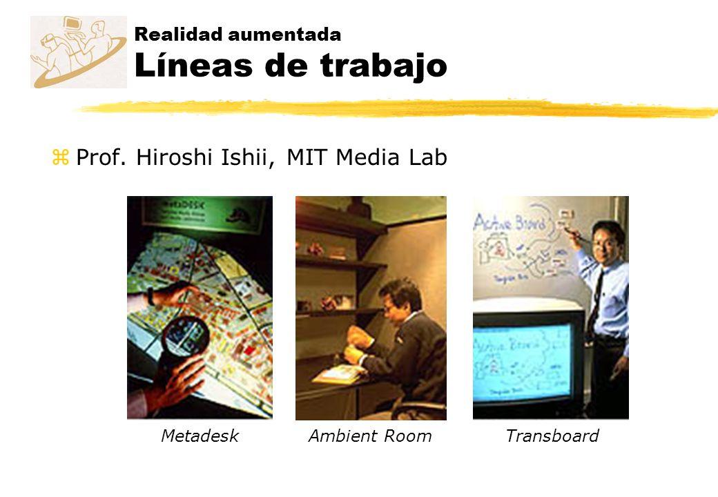 Realidad aumentada Líneas de trabajo zProf. Hiroshi Ishii, MIT Media Lab MetadeskAmbient RoomTransboard