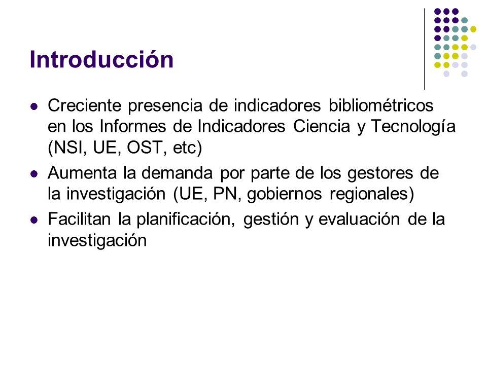 Introducción Creciente presencia de indicadores bibliométricos en los Informes de Indicadores Ciencia y Tecnología (NSI, UE, OST, etc) Aumenta la demanda por parte de los gestores de la investigación (UE, PN, gobiernos regionales) Facilitan la planificación, gestión y evaluación de la investigación