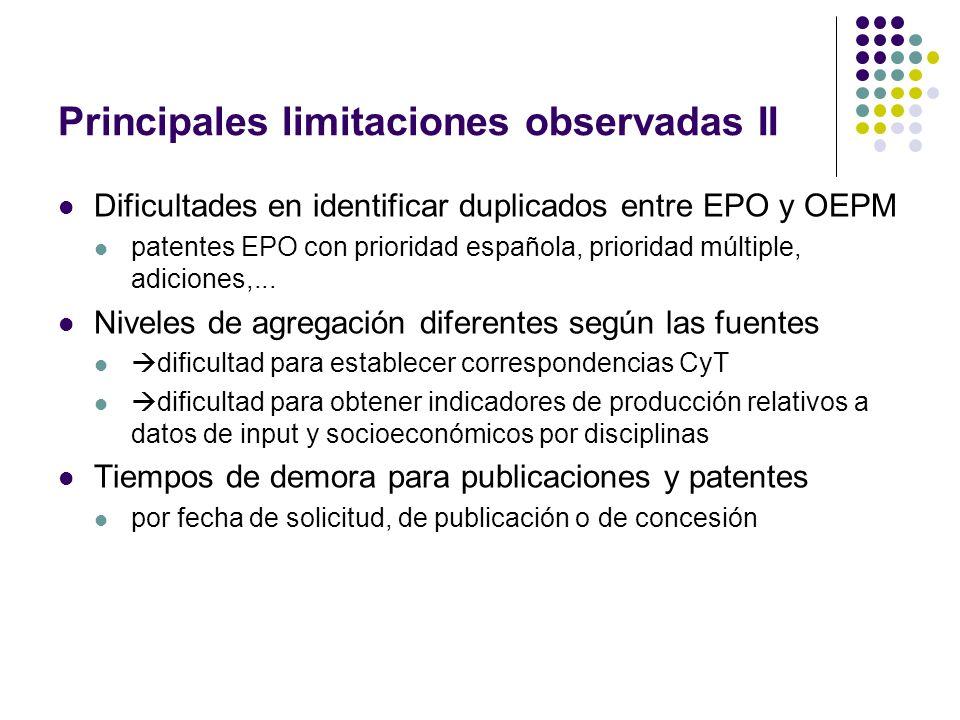 Principales limitaciones observadas II Dificultades en identificar duplicados entre EPO y OEPM patentes EPO con prioridad española, prioridad múltiple, adiciones,...