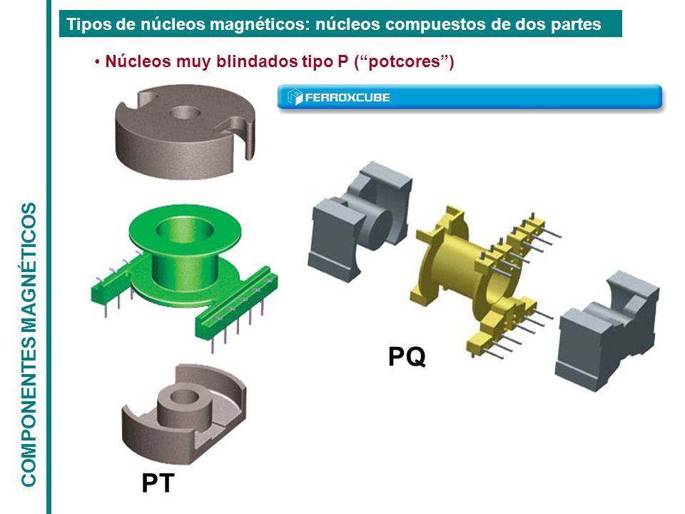 COMPONENTES MAGNÉTICOS Tipos de núcleos magnéticos: núcleos compuestos de dos partes Núcleos muy blindados tipo P (potcores) PT PQ