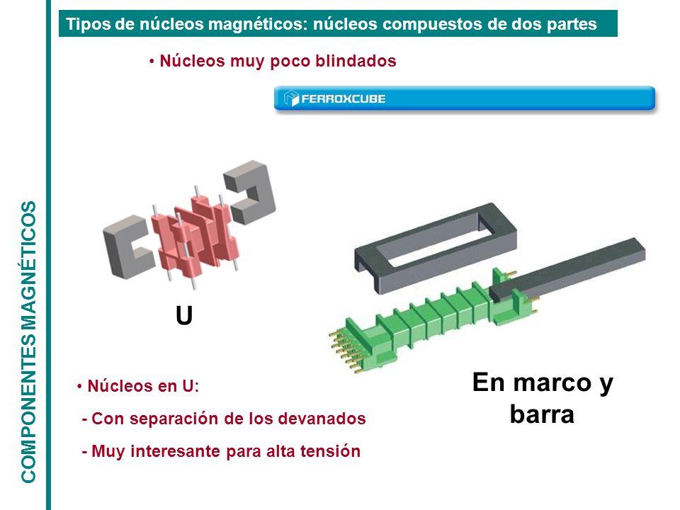 COMPONENTES MAGNÉTICOS Tipos de núcleos magnéticos: núcleos compuestos de dos partes Núcleos muy poco blindados U En marco y barra Núcleos en U: - Con separación de los devanados - Muy interesante para alta tensión