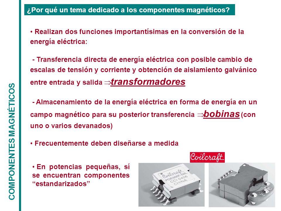 COMPONENTES MAGNÉTICOS ¿Por qué un tema dedicado a los componentes magnéticos? Realizan dos funciones importantísimas en la conversión de la energía e