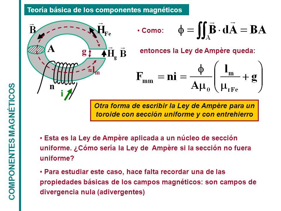 COMPONENTES MAGNÉTICOS Teoría básica de los componentes magnéticos n i l m g entonces la Ley de Ampère queda: A Como: Otra forma de escribir la Ley de Ampère para un toroide con sección uniforme y con entrehierro Esta es la Ley de Ampère aplicada a un núcleo de sección uniforme.