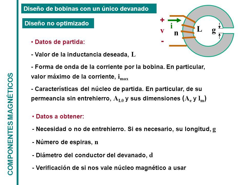 COMPONENTES MAGNÉTICOS Diseño de bobinas con un único devanado g L n + - v i Datos de partida: - Valor de la inductancia deseada, L - Forma de onda de