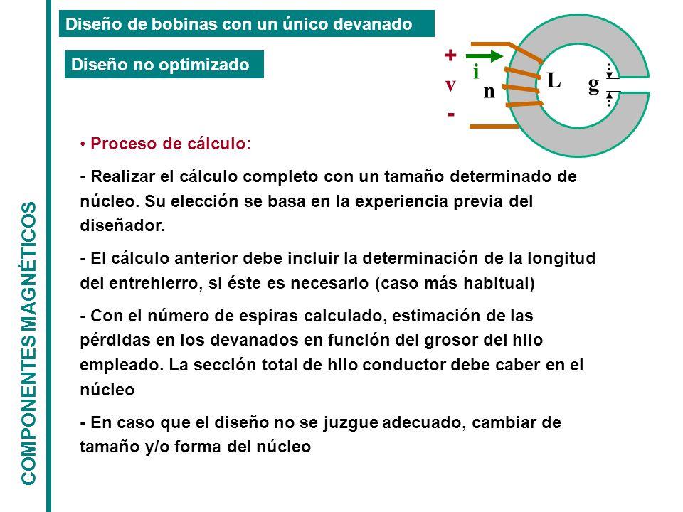 COMPONENTES MAGNÉTICOS Diseño de bobinas con un único devanado g L n + - v i Proceso de cálculo: - Realizar el cálculo completo con un tamaño determinado de núcleo.