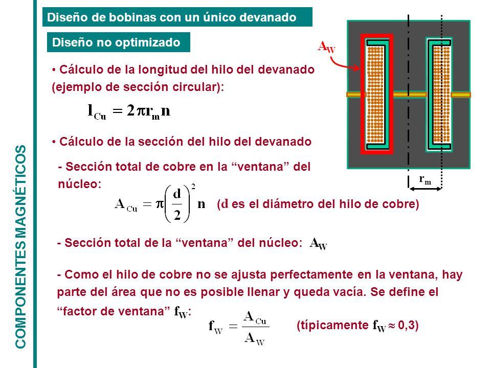 COMPONENTES MAGNÉTICOS Diseño de bobinas con un único devanado Diseño no optimizado Cálculo de la longitud del hilo del devanado (ejemplo de sección circular): rmrm Cálculo de la sección del hilo del devanado - Sección total de cobre en la ventana del núcleo: ( d es el diámetro del hilo de cobre) - Sección total de la ventana del núcleo: A W - Como el hilo de cobre no se ajusta perfectamente en la ventana, hay parte del área que no es posible llenar y queda vacía.