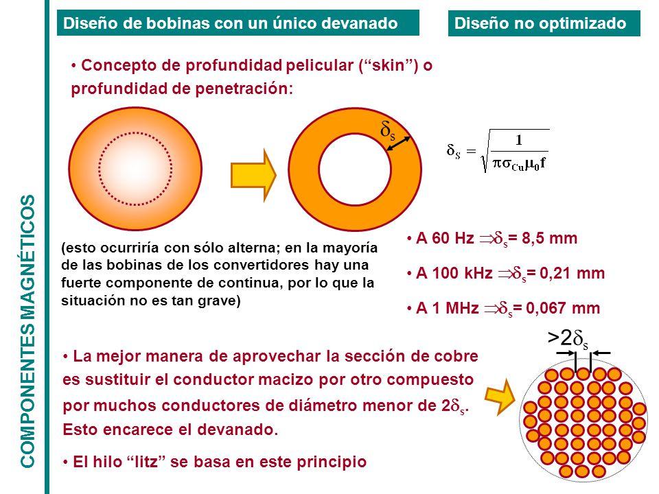 COMPONENTES MAGNÉTICOS Diseño de bobinas con un único devanado Diseño no optimizado Concepto de profundidad pelicular (skin) o profundidad de penetración: s A 60 Hz s = 8,5 mm A 100 kHz s = 0,21 mm A 1 MHz s = 0,067 mm (esto ocurriría con sólo alterna; en la mayoría de las bobinas de los convertidores hay una fuerte componente de continua, por lo que la situación no es tan grave) La mejor manera de aprovechar la sección de cobre es sustituir el conductor macizo por otro compuesto por muchos conductores de diámetro menor de 2 s.