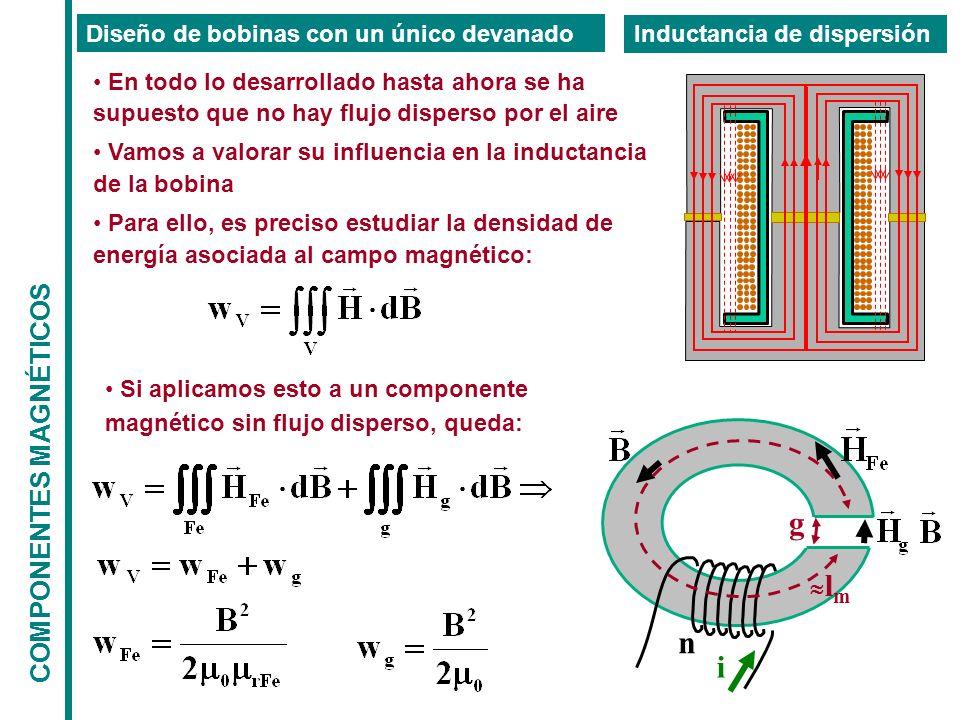 COMPONENTES MAGNÉTICOS Diseño de bobinas con un único devanado Inductancia de dispersión En todo lo desarrollado hasta ahora se ha supuesto que no hay