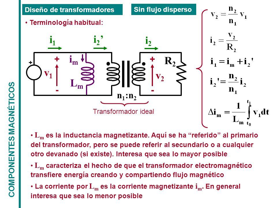 COMPONENTES MAGNÉTICOS Diseño de transformadores Sin flujo disperso Terminología habitual: i1i1 i 2 Transformador ideal imim LmLm n 1 :n 2 v1v1 + - v2