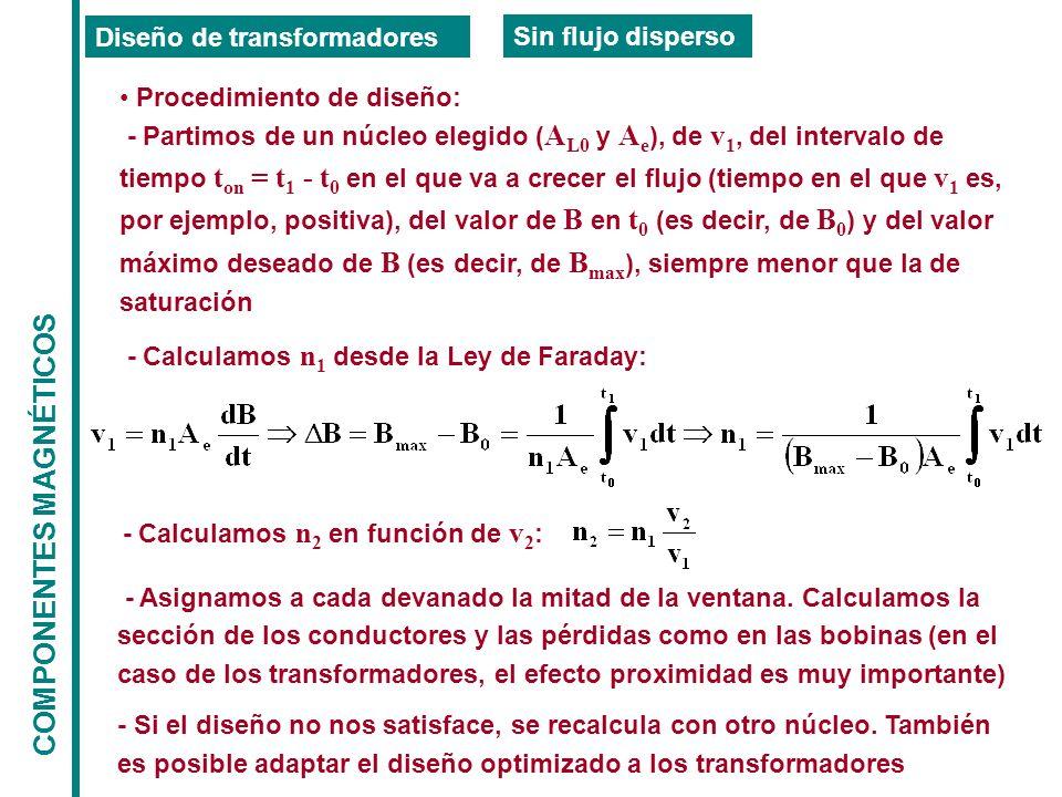 COMPONENTES MAGNÉTICOS Diseño de transformadores Sin flujo disperso Procedimiento de diseño: - Partimos de un núcleo elegido ( A L0 y A e ), de v 1, del intervalo de tiempo t on = t 1 - t 0 en el que va a crecer el flujo (tiempo en el que v 1 es, por ejemplo, positiva), del valor de B en t 0 (es decir, de B 0 ) y del valor máximo deseado de B (es decir, de B max ), siempre menor que la de saturación - Calculamos n 1 desde la Ley de Faraday: - Calculamos n 2 en función de v 2 : - Asignamos a cada devanado la mitad de la ventana.