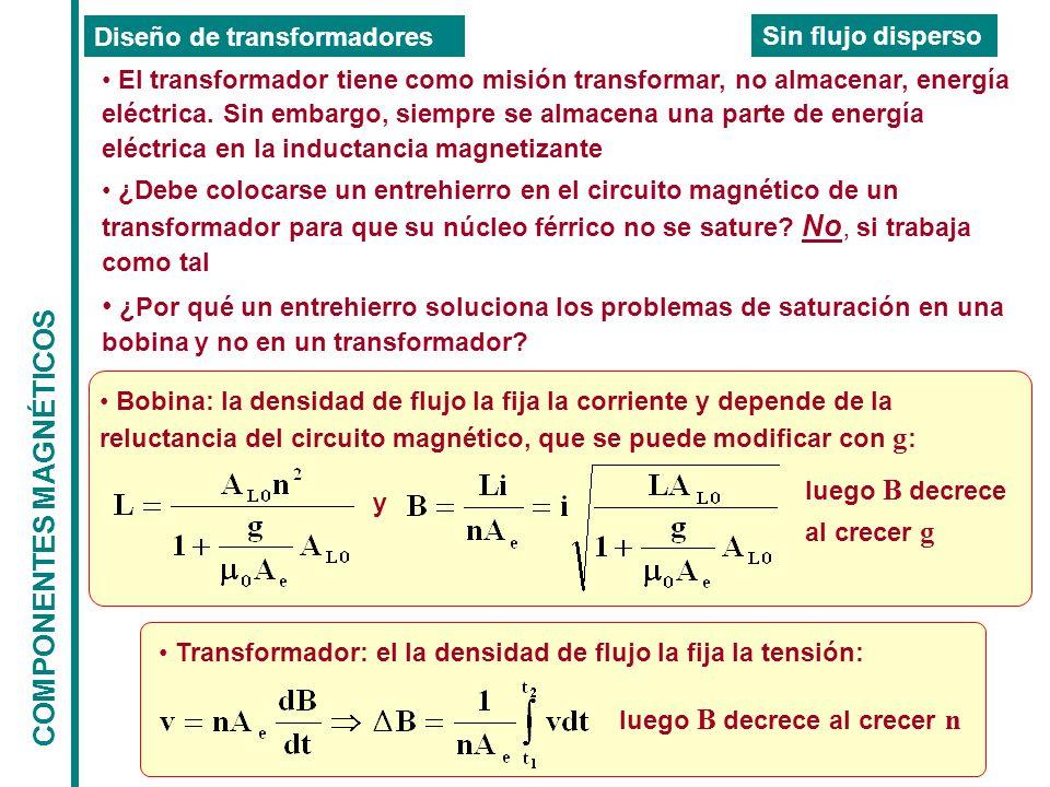 COMPONENTES MAGNÉTICOS Diseño de transformadores Sin flujo disperso El transformador tiene como misión transformar, no almacenar, energía eléctrica.