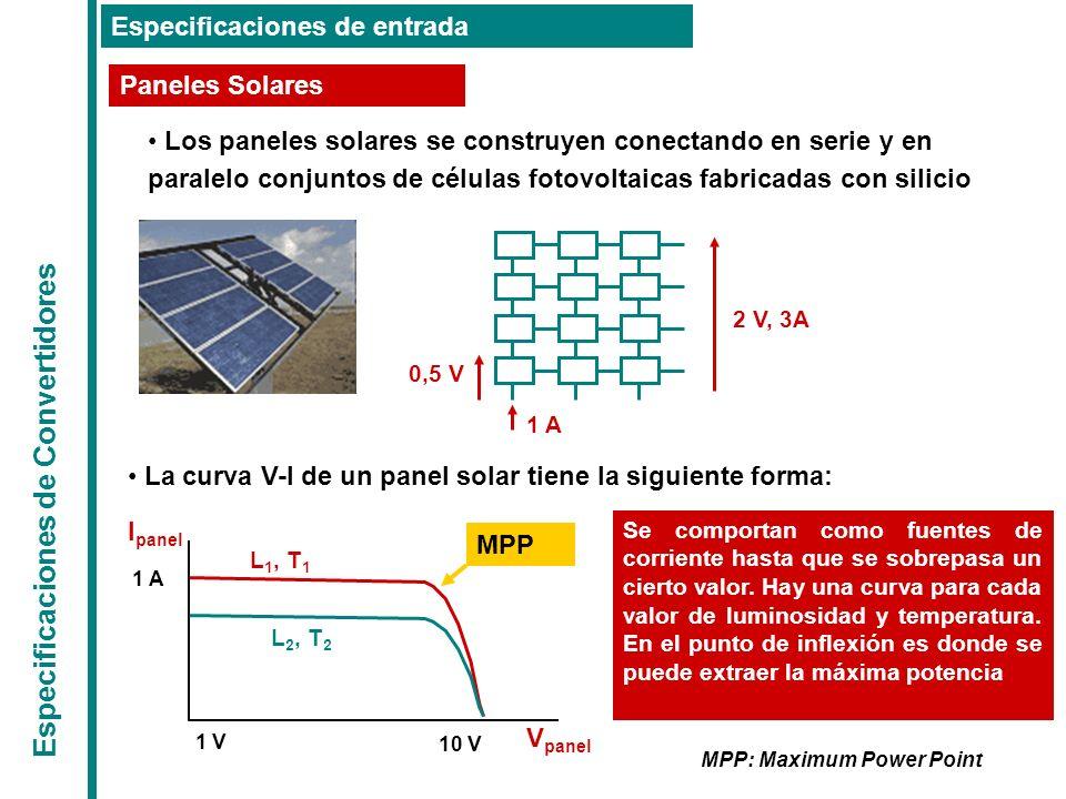 Especificaciones de Convertidores Especificaciones de entrada Paneles Solares Los paneles solares se construyen conectando en serie y en paralelo conj