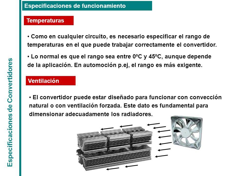 Especificaciones de Convertidores Especificaciones de funcionamiento Temperaturas Ventilación Como en cualquier circuito, es necesario especificar el