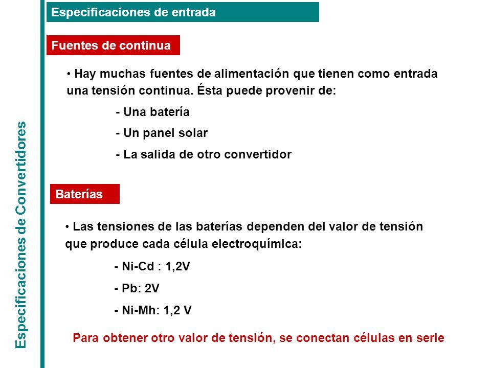 Especificaciones de Convertidores Especificaciones de salida Regulación estática Rizado de la tensión de salida La tensión de salida siempre tiene una componente de alterna indeseada superpuesta a la componente de continua (tensión nominal de salida).