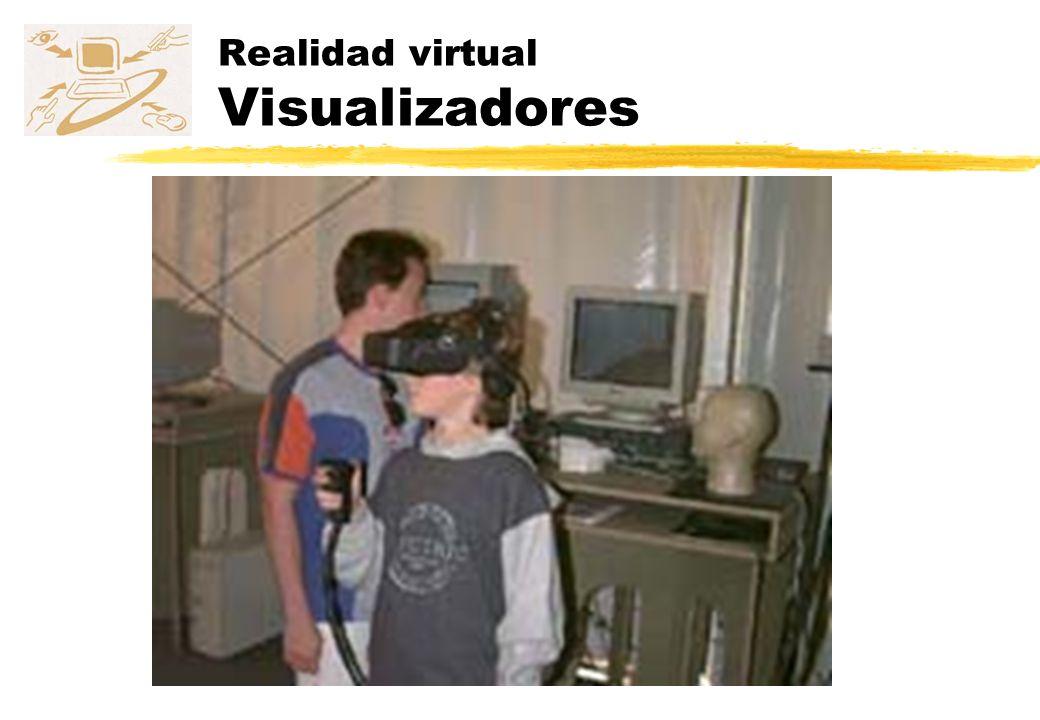 Realidad virtual Posicionadores zDeterminar las posiciones x,y y z y la orientación (yaw, pitch y roll) de alguna parte del cuerpo del usuario en referencia a un punto fijo zLa mayoría de los tipos de dispositivos de interacción de realidad virtual tendrán un posicionador en ellos zMiden la posición absoluta y la orientación en un espacio de 3+3 dimensiones (6DOF) de un sensor