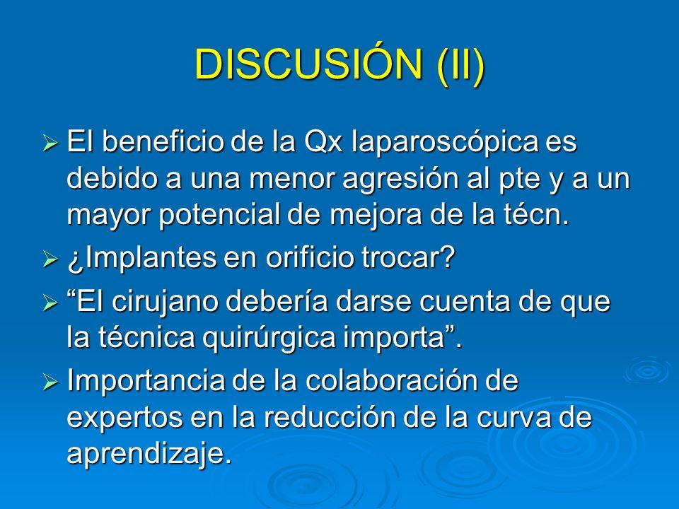 DISCUSIÓN (II) El beneficio de la Qx laparoscópica es debido a una menor agresión al pte y a un mayor potencial de mejora de la técn. El beneficio de