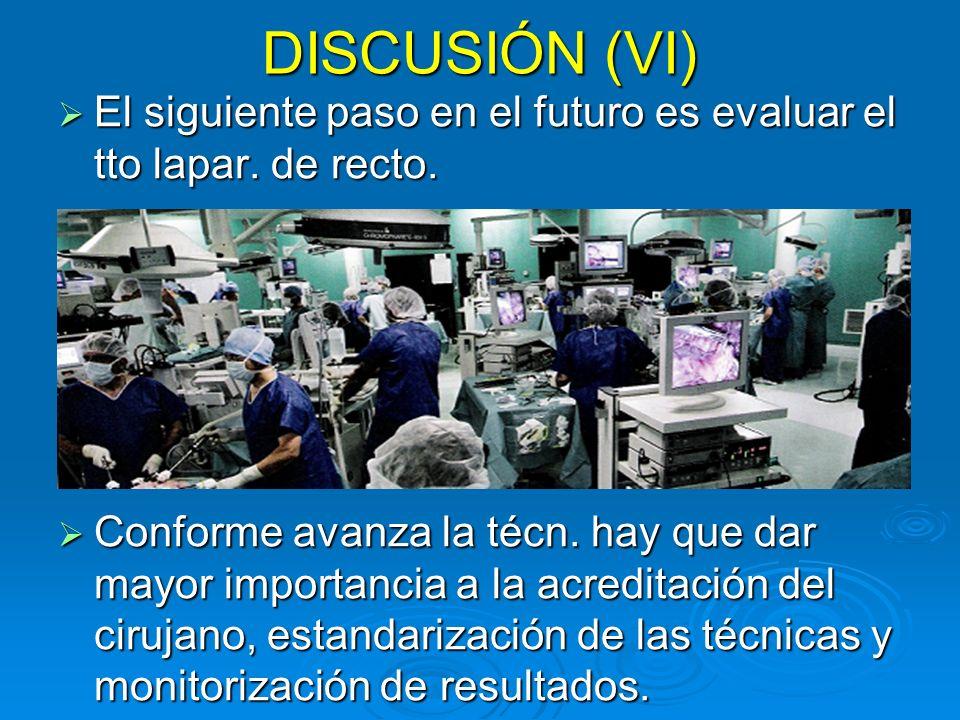 DISCUSIÓN (VI) El siguiente paso en el futuro es evaluar el tto lapar. de recto. El siguiente paso en el futuro es evaluar el tto lapar. de recto. Con