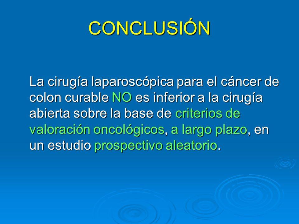 CONCLUSIÓN La cirugía laparoscópica para el cáncer de colon curable NO es inferior a la cirugía abierta sobre la base de criterios de valoración oncol
