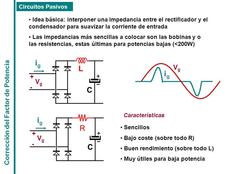 Corrección del Factor de Potencia Circuitos Pasivos Idea básica: interponer una impedancia entre el rectificador y el condensador para suavizar la cor
