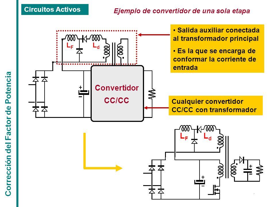 Corrección del Factor de Potencia Circuitos Activos Ejemplo de convertidor de una sola etapa Cualquier convertidor CC/CC con transformador Salida auxi
