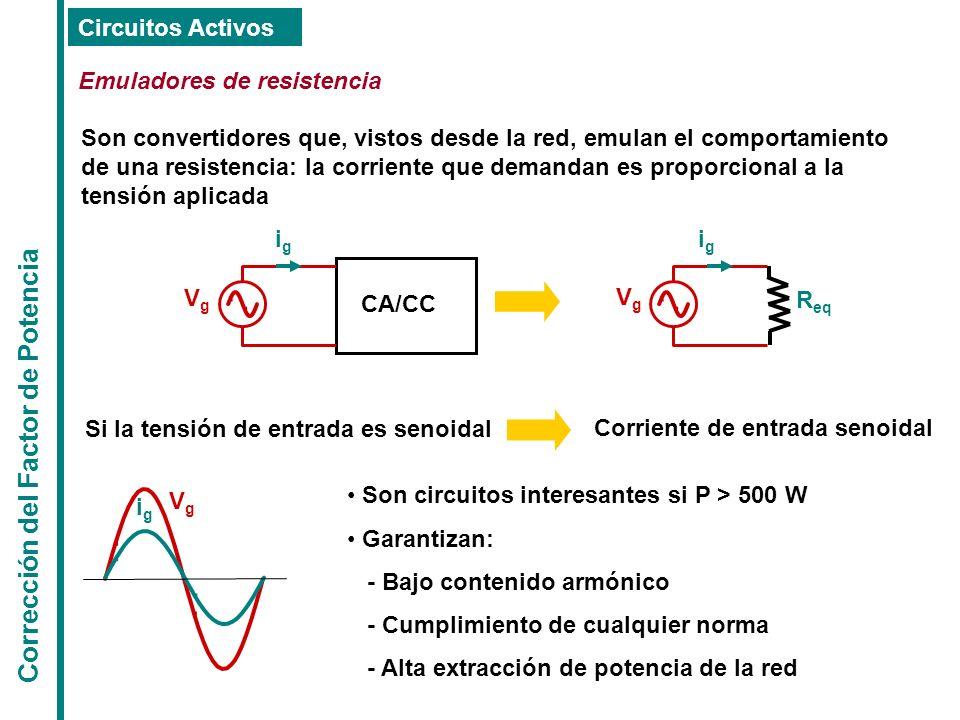 Corrección del Factor de Potencia Circuitos Activos Emuladores de resistencia Son convertidores que, vistos desde la red, emulan el comportamiento de