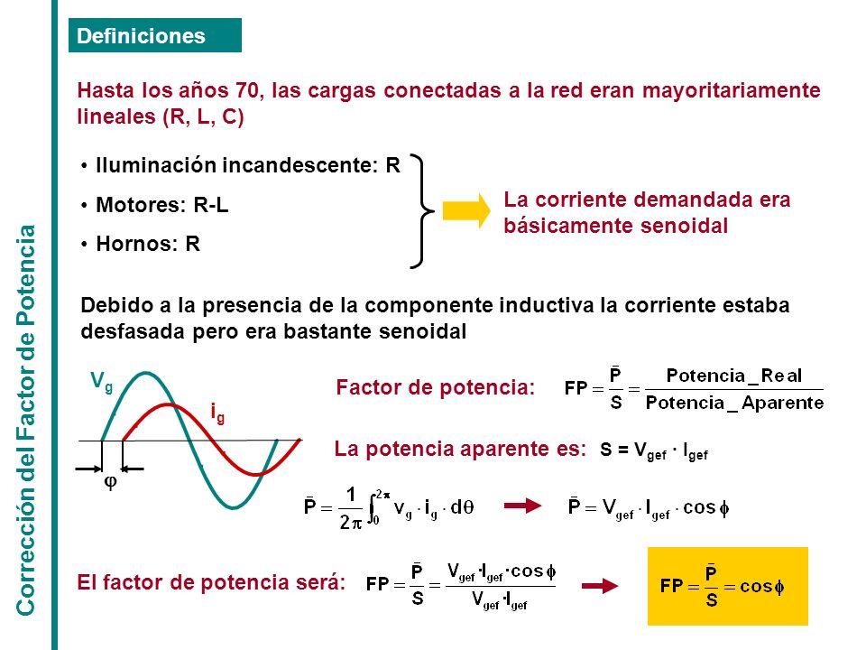 Corrección del Factor de Potencia Definiciones Hasta los años 70, las cargas conectadas a la red eran mayoritariamente lineales (R, L, C) Iluminación
