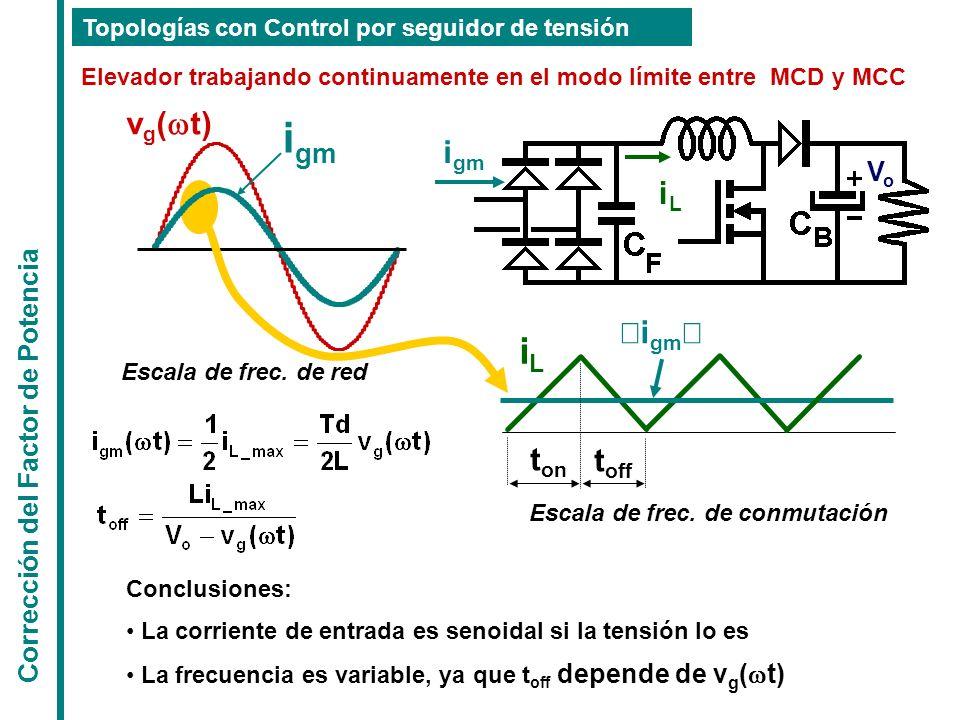 Corrección del Factor de Potencia Topologías con Control por seguidor de tensión Elevador trabajando continuamente en el modo límite entre MCD y MCC E