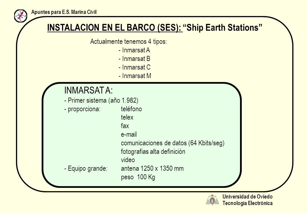Universidad de Oviedo Tecnología Electrónica Apuntes para E.S. Marina Civil INSTALACION EN EL BARCO (SES): Ship Earth Stations Actualmente tenemos 4 t